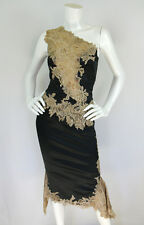 Mandalay 2 Pc Outfit Black Satin Floral Lace One Shoulder Top/Skirt Dress 2/4/S