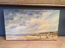 L.Leister,Tableau Marine,Vue de plage,Huile sur toile,XX°.