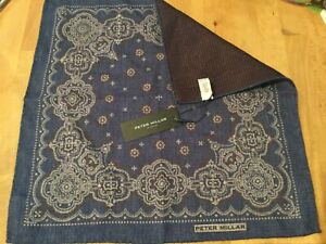 PETER MILLAR Collection Reversible Blue & Red 100% Wool POCKET SQUARE NWT ITALY