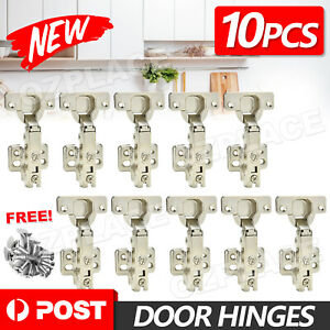 10X Door Hinge Cabinet Cupboard Hinges Soft Close Full Overlay Wardrobe Kitchen