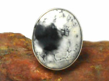OPAL  DENDRITE   Sterling  Silver   925  Gemstone  RING  - Size:  S