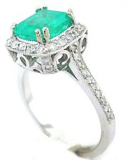 14K WHITE GOLD CUSHION CUT EMERALD AND ROUND DIAMOND RING HALO BRIDAL  2.30CTW