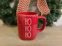 "Rae Dunn Red ""HO HO HO"" Christmas Coffee Mug with white stitching Brand New 2020"