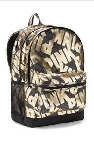 Victoria's Secret PINK CAMPUS Backpack Pure Black Gold Foil Trim Uni College  XL