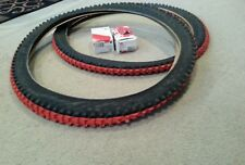 2 NEW DURO MOUNTAIN BIKE TIRES RED CENTERS  26X2.10 & 2 TUBES