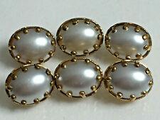 Lot de 6 petits boutons ovales vintage - Métal doré perle fantaisie 8 x 11 mm