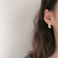 Fashion Jewelry 1pair Women Lady Elegant Pearl Drop Circle Ear Stud Earrings