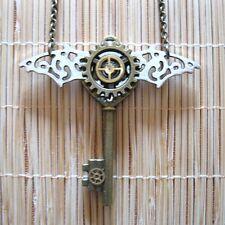 steampunk gothic punk rock necklace pendant bat key girl boy women jewelry gift