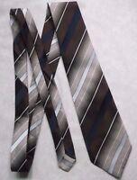 Vintage TOOTAL Tie Mens Necktie Retro 1980s Fashion STRIPED BROWN NAVY
