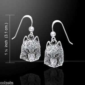WOLF EARRINGS .925 STERLING SILVER  by PETER STONE designed by TED ANDREWS
