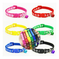 6 Colors Small Footprint  Bell Pet Collar Nylon Fabric Cat Kitten Dog Puppy new.