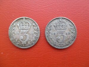 1912 & 1913 silver threepence - George V - 0.925 sterling silver (ref 500)