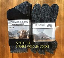 3 PAIRS 11-14 HEAVY DUTY AUSTRALIAN MERINO EXTRA THICK WOOL SOCKS BLACK/GREY