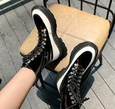 Women's Fashion Leather Two Tone Lace Up Platform Combat Ankle Boots Shoes AOOE