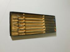 Vintage Stainless Fondue Forks Set Of 6 With Wood Handles With Color Coded Ends