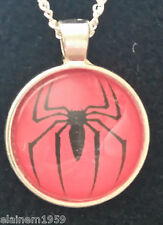 "Spiderman Cabachon glass dome Necklace Pendant.20"" chain"