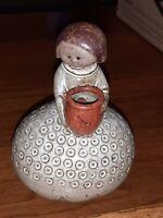 UCTCI Vintage Gempo Japan Art Pottery GIRL Mini flower vase MCM Swedan Rustic