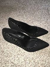 Catherines Shoes Black Circle Stud Heel Pumps 10W Size 10 Wide Womens NIB