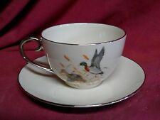 Vintage FLINTRIDGE CHINA GAME BIRDS MALLARD DUCKS COFFEE CUP and SAUCER