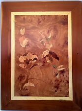 RARE Marquetry Picture - HUMMINGBIRDS - SIGNED by Virginia & Chris Groneman
