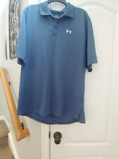 Under Armour Mens Short Sleeve Athletic Golf Polo Shirt Blue Size Large