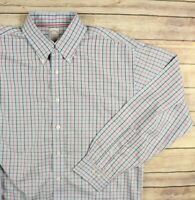 BROOKS BROTHERS Men's Non Iron Button Front Shirt L Large Blue Red Check