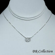 Sterling Silver Double Circle Necklace with CZ Stones