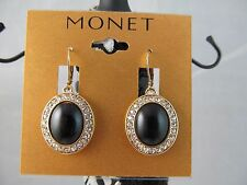 NWT MONET GOLD with BLACK & CLEAR CRYSTALS DANGLE EARRINGS, Stunning,Classy