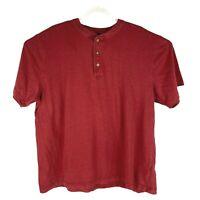 LL Bean Mens Short Sleeve 3 Button Cotton Polo Shirt Solid Red Mens Size XL Reg