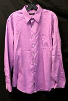 Mens Full Button Up Dress Shirt Purple by Geoffrey Beene Size Large 16.5 34/35