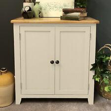 Painted Cream Oak Linen Cupboard Storage Cabinet Sideboard / Solid Wood Padstow