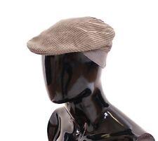 NWT $280 DOLCE & GABBANA Beige Cotton Logo Newsboy Cap Hat Cabbie s. 58 / M