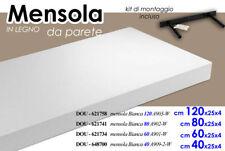 MENSOLA BIANCA 40*25*4 CM PARETE LEGNO MDF + KIT MONTAGGIO SCAFFALE 648700