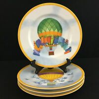 Set of 4 Salad Plates Williams Sonoma Montgolfiere Hot Air Balloon Porcelain