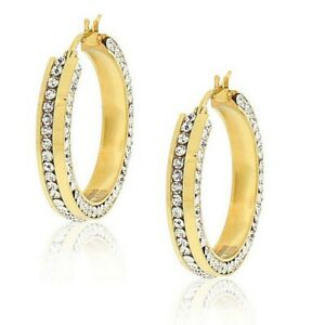 Stainless Steel Yellow Gold Plated White Crystals Hoop Earrings 1.00in Diameter
