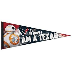 """HOUSTON TEXANS STAR WARS BB-8 THIS IS HOW I AM A TEXAN! PENNANT 12""""x30"""" NEW"""