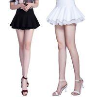 Black/White Women Stretchy Ruffle Pleated Short Dress ChiffonSkater Mini Skirt