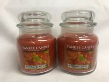Yankee Candle (2) AUTUMN LEAVES Medium 14.5 oz Jar Candles