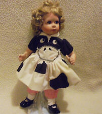 """Cute Porcelain Doll """"Becky"""" With Cow Face Outfit-Approx 14""""- With Stand."""