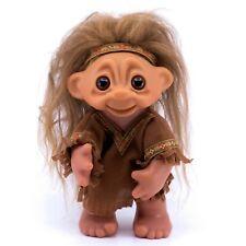 "Vintage Indian Native American DAM Norfin Troll Doll 9"" Brown Wool Hair"