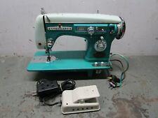 Vintage Coronado sewing machine retro antique turquoise sea foam green SAZ-2