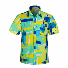 Mens Orange Hawaiian Tropical Shirt Short Sleeve Beach Hawaiian Luau Shirt