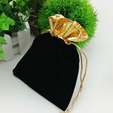 Golden Trim Drawstring Jewelry Pouches Velvet Gift Bags Wedding Favor black Red
