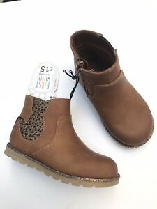 George Size 7 Infant Girls First Walkers Tan Cat Shape Panel Ankle Chelsea Boots