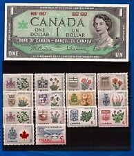 1967 stamps CANADA set + Canadian CENTENNIAL one 1 DOLLAR BILL NOTE crisp AU-UNC