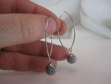 JCM 925 STERLING SILVER Wire Black Crystal Dangle Earrings *31