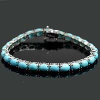 7x5 mm Natural Arizona Turquoise Gemstone Sterling 925 Silver Tennis Bracelet