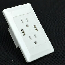 Dual USB Port Wall Charger Home AC Station Socket Power Outlet Panel Adapter