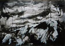 ORIGINAL PAINTING **BLACK STORM** ABSTRACT ART LANDSCAPE 33 x 23 ins ~ Sbeeart