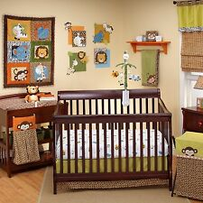 4P Zambia Crib Bedding Unisex Baby Gift Set By Nojo Monkey Elephant Giraffe Lion